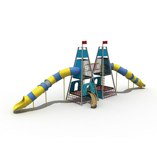 Aire de jeux Triangle Rope Adventure Tower avec Rocket Tower